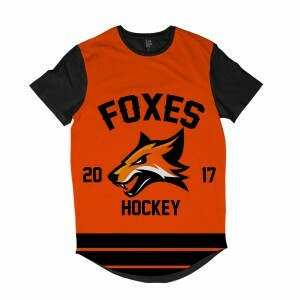 Camiseta Longline BSC Hockey Foxes Sublimada Preto / Laranja
