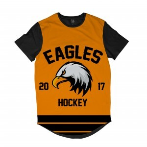 Camiseta Longline Los Fuckers Hockey Eagles Full Print Preto / Amarelo
