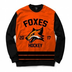 Moletom Gola Careca BSC Hockey Foxes Sublimada Preto / Laranja