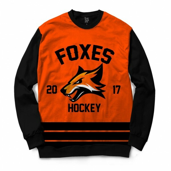 Moletom Gola Careca Los Fuckers Hockey Foxes Full Print Preto / Laranja