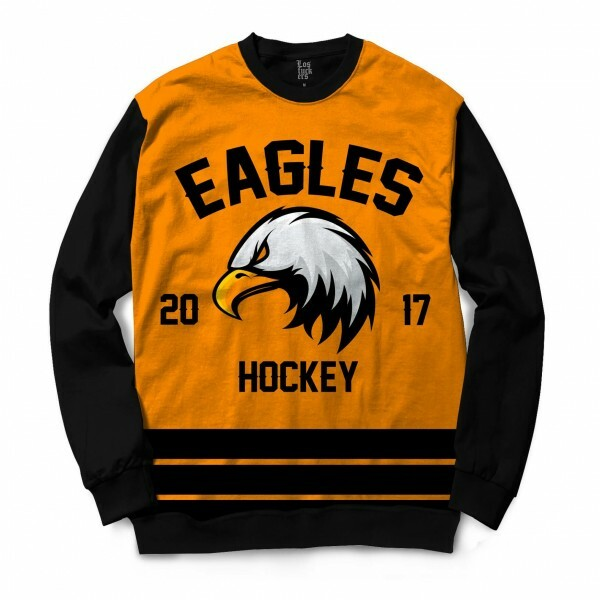 Moletom Gola Careca Los Fuckers Hockey Eagles Full Print Preto / Amarelo