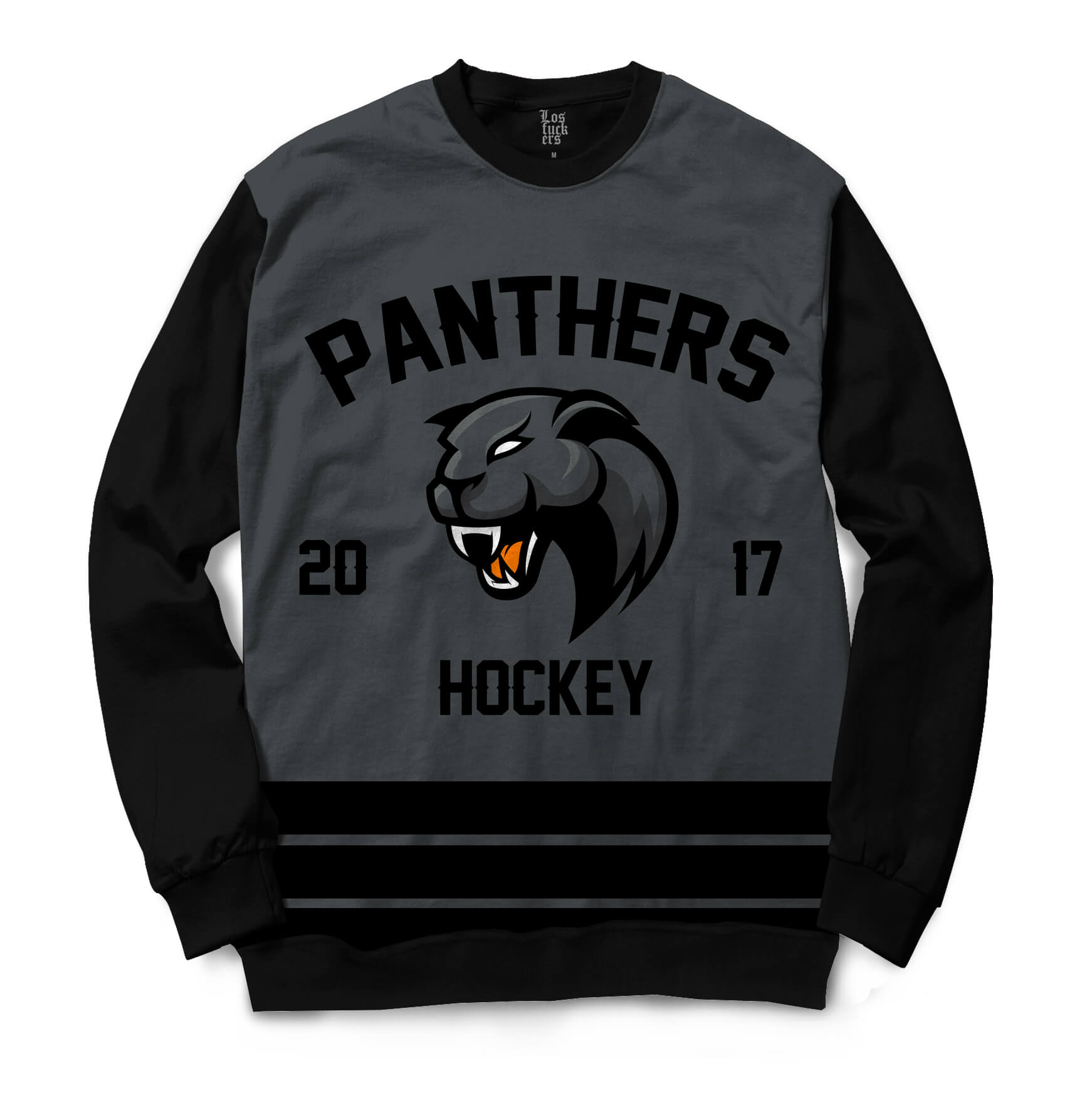 Moletom Gola Careca BSC Hockey Panthers Sublimada Preto / Cinza