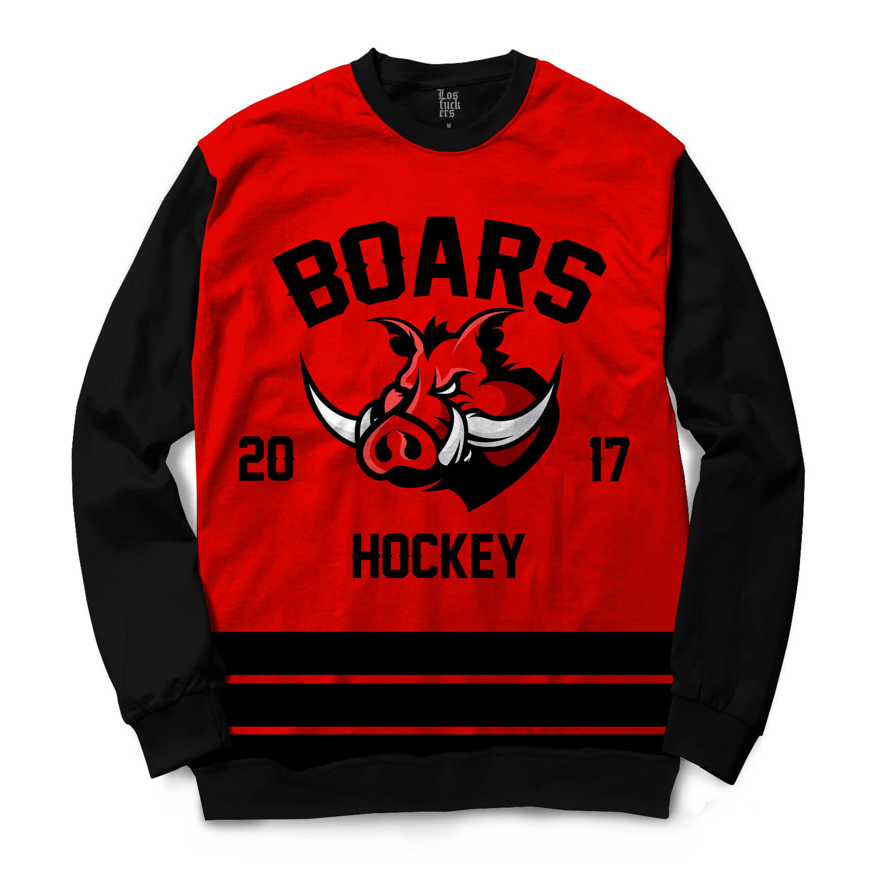 Moletom Gola Careca Los Fuckers Hockey Boars Full Print Preto / Vermelho