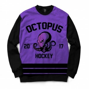 Moletom Gola Careca BSC Hockey Octopus Sublimada Preto / Roxo