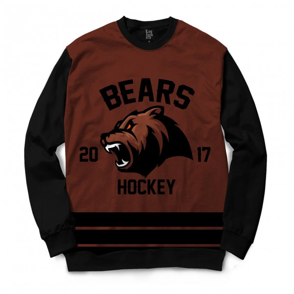 Moletom Gola Careca Los Fuckers Hockey Bears Full Print Preto / Marrom