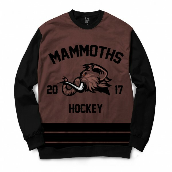 Moletom Gola Careca Los Fuckers Hockey Mammoths Full Print Preto / Marrom
