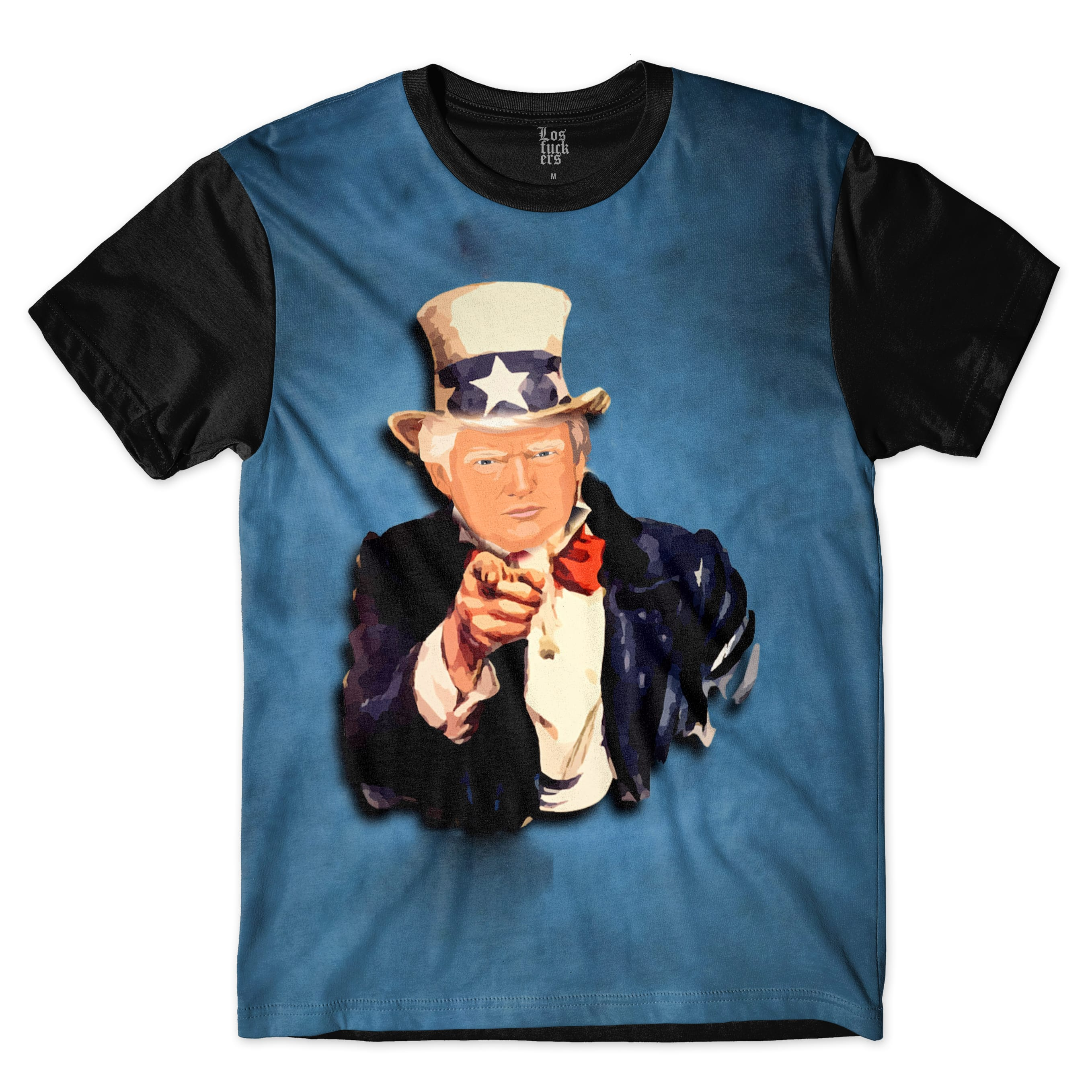 Camiseta Los Fuckers Trump Tio Sam  Full Print Azul