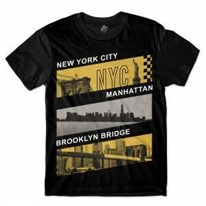 Camiseta BSC Nova Iorque Manhattan NYC Brooklyn Full Print Preto