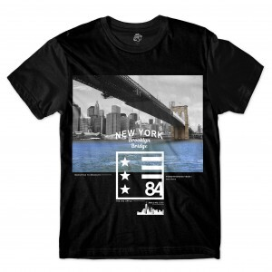 Camiseta BSC Nova Iorque Ponte do Brooklyn  84 Full Print Preto
