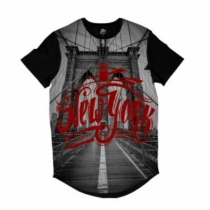 Camiseta Longline BSC Nova Iorque Ponte do Brooklyn Full Print Preto