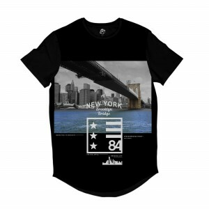 Camiseta Longline BSC Nova Iorque Ponte do Brooklyn  84 Full Print Preto