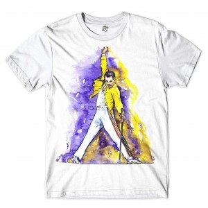 Camiseta BSC Astros do Rock Freddy Mercury Sublimada Branco