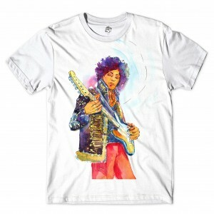 Camiseta BSC Astros do Rock Jimmy Hendrix Full Print Branco