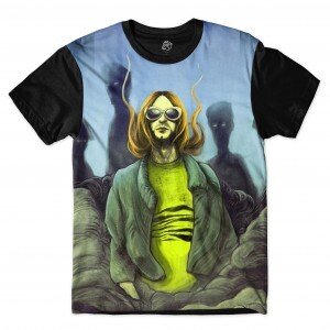 Camiseta BSC Astros do Rock Kurt Cobain Full Print Preto