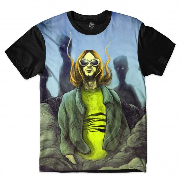 Camiseta BSC Astros do Rock Kurt Cobain Sublimada Preto