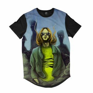 Camiseta Longline BSC Astros do Rock Kurt Cobain Sublimada Preto