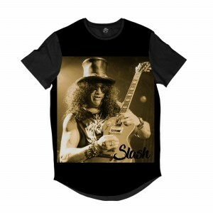 Camiseta Longline BSC Astros do Rock Slash Full Print Preto
