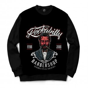 Moletom Gola Careca BSC Barbeiro Rockabilly Full Print Preto