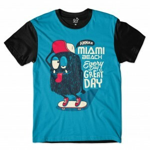 Camiseta Long Beach Dia Quente Full Print Azul