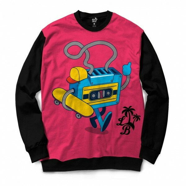Moletom Gola Careca Long Beach Fita Skate Full Print Rosa