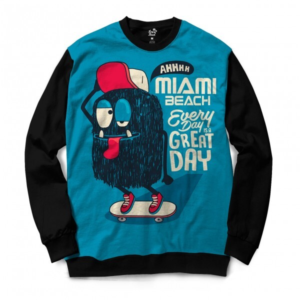 Moletom Gola Careca Long Beach Dia Quente Full Print Azul