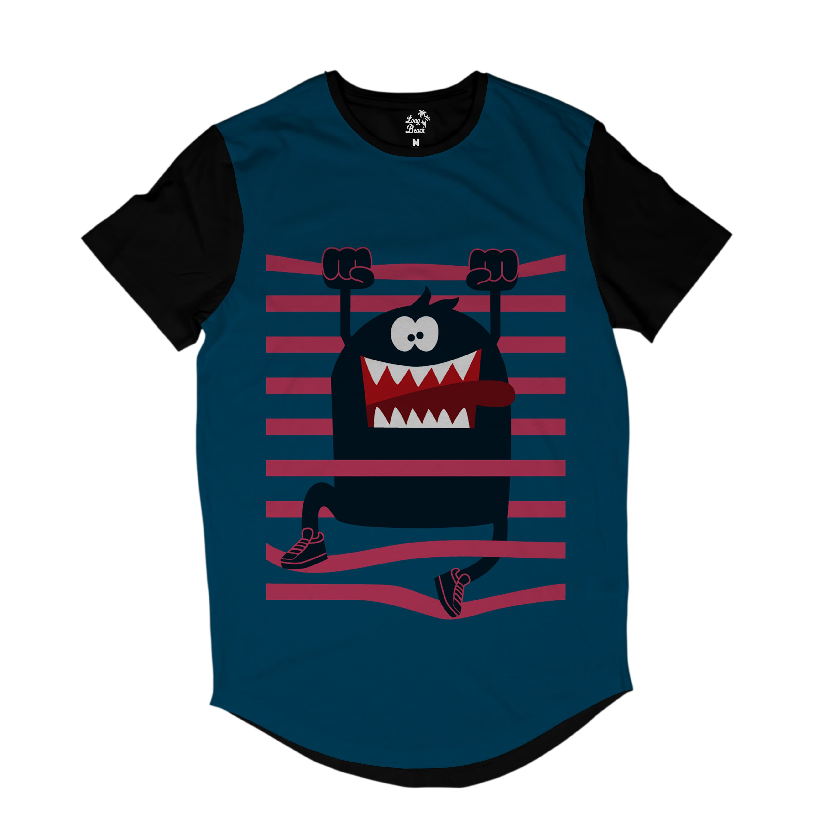 Camiseta Longline Long Beach LB Monstro Listras Full Print Azul