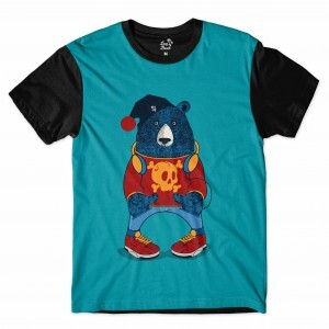 Camiseta Long Beach Urso Gorro Full Print Azul