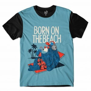 Camiseta Long Beach Urso Praia Full Print Azul