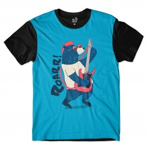Camiseta Long Beach Urso Guitarra Full Print Azul