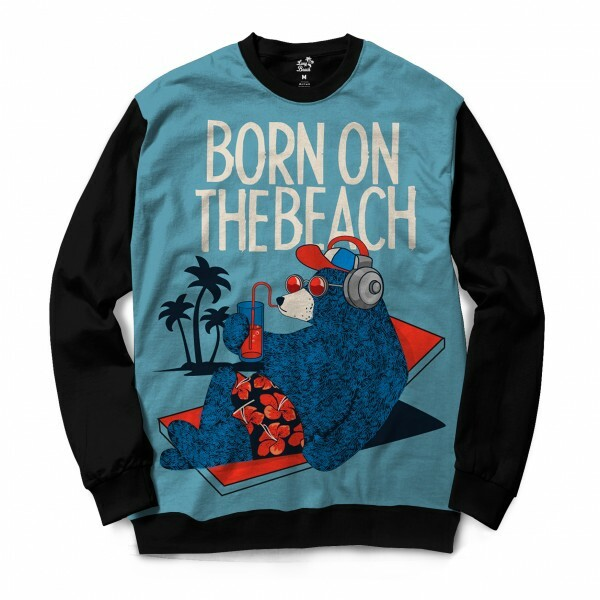 Moletom Gola Careca Long Beach Urso Praia Full Print Azul