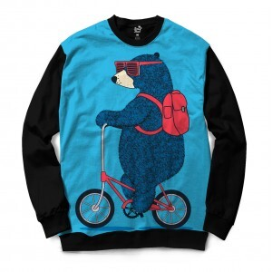 Moletom Gola Careca Long Beach Urso Bicicleta Full Print Azul