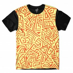 Camiseta Long Beach Arabescos Tiki 2 Full Print Amarelo