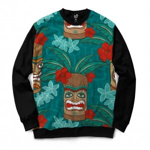 Moletom Gola Careca Long Beach Tiki Floral Full Print Verde