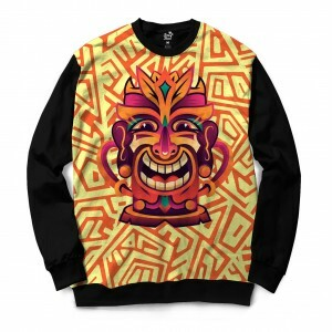 Moletom Gola Careca Long Beach Totem Arebescos 2 Full Print Amarelo