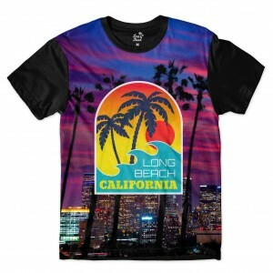 Camiseta Long Beach California Purple Full Print Roxo Fosco