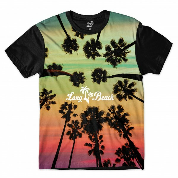 Camiseta Long Beach LB Trees Full Print Verde