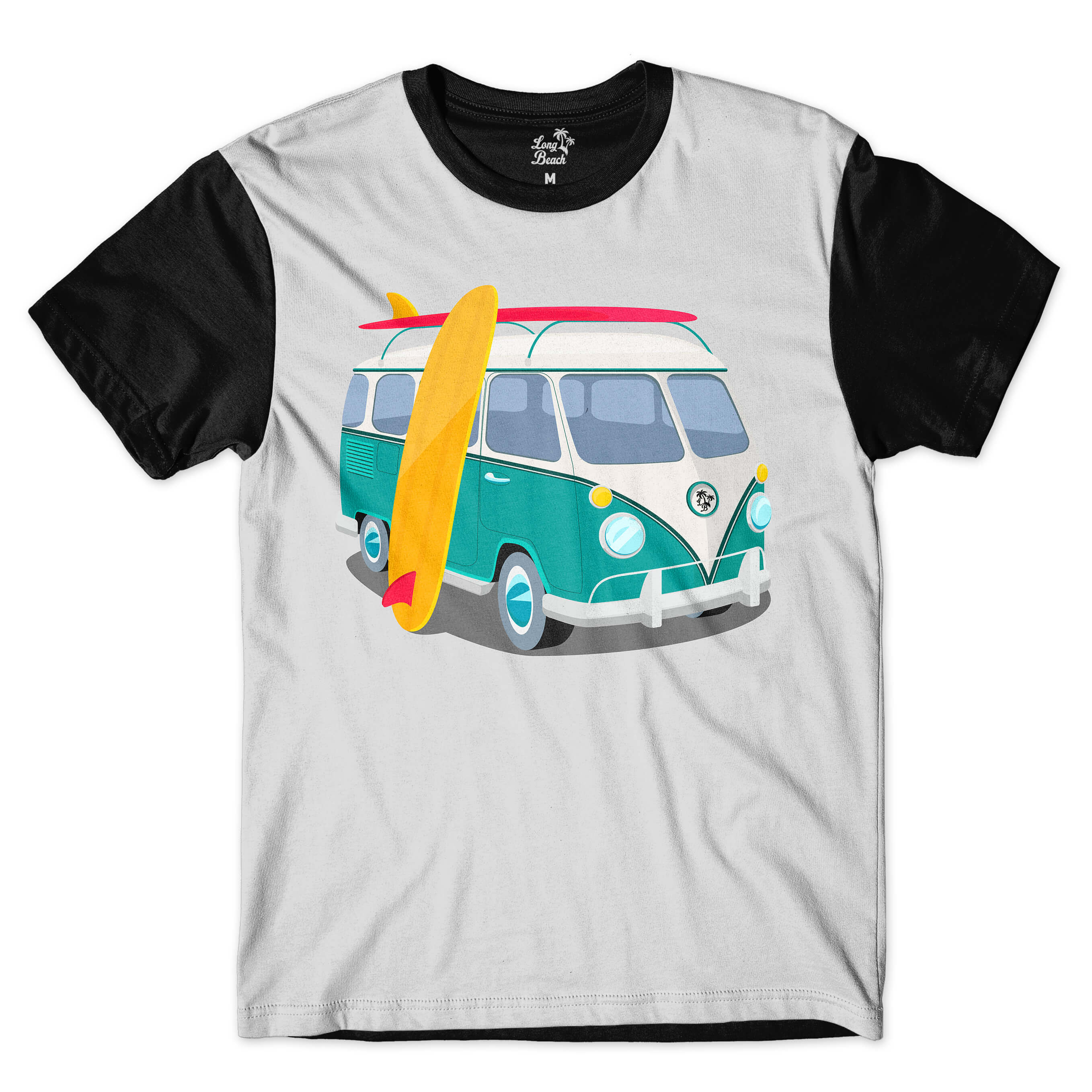 Camiseta Long Beach Kombi Full Print Cinza
