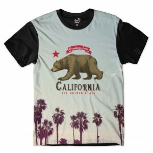 Camiseta Long Beach Urso California Full Print Cinza