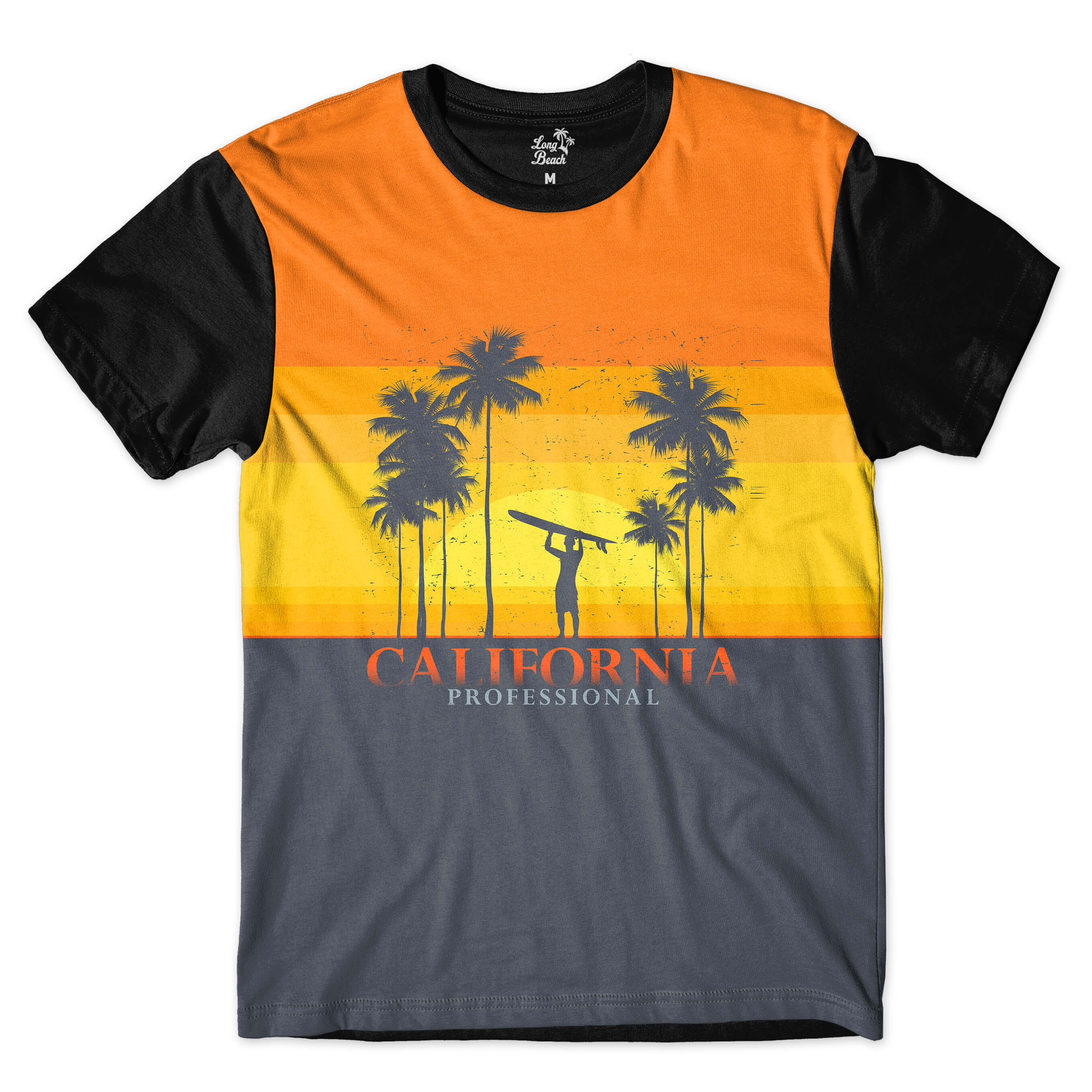 Camiseta Long Beach California Surfista Full Print Amarelo