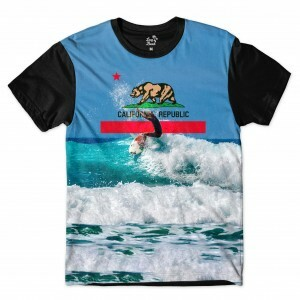 Camiseta Long Beach California Onda Full Print Azul