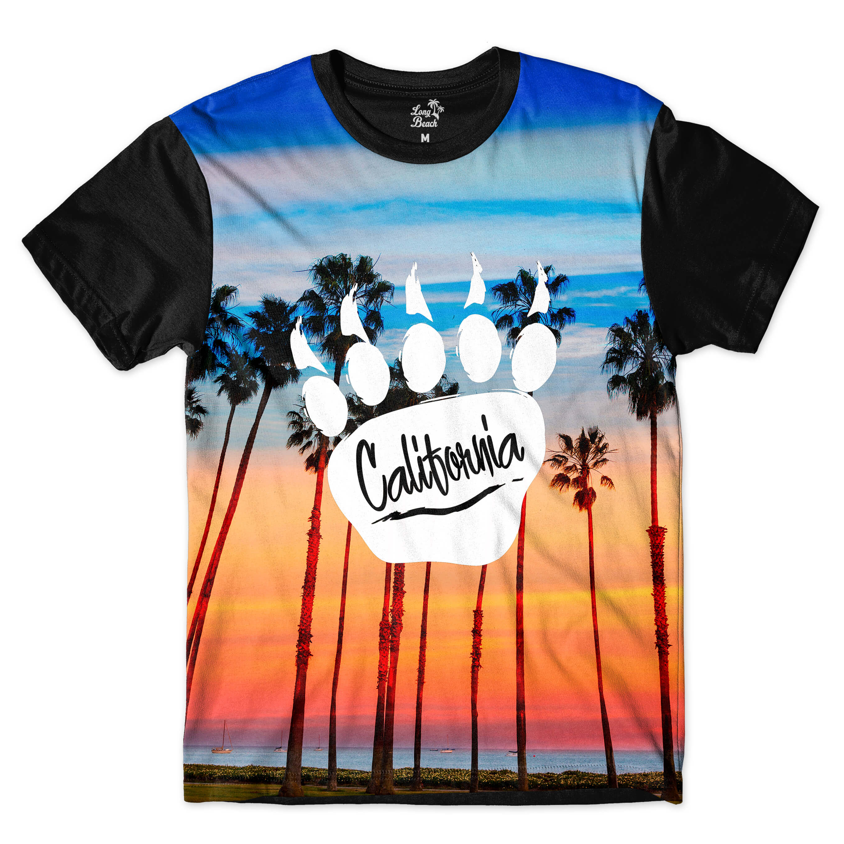 Camiseta Long Beach Pegada de Urso Por do sol Full Print Azul