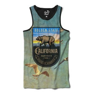 Camiseta Regata Long Beach California Gaivotas Full Print Azul