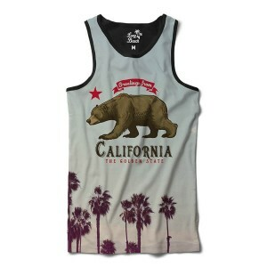 Camiseta Regata Long Beach Urso California Full Print Cinza