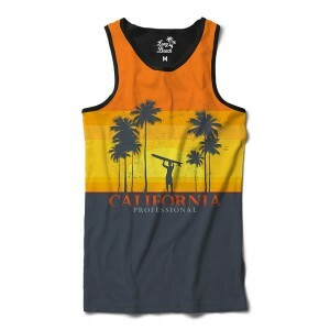 Camiseta Regata BSC California Surfista Sublimada Amarelo
