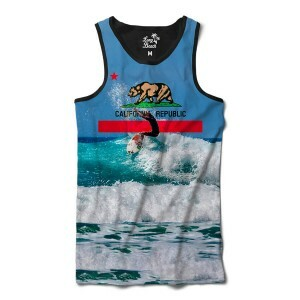 Camiseta Regata Long Beach California Onda Full Print Azul