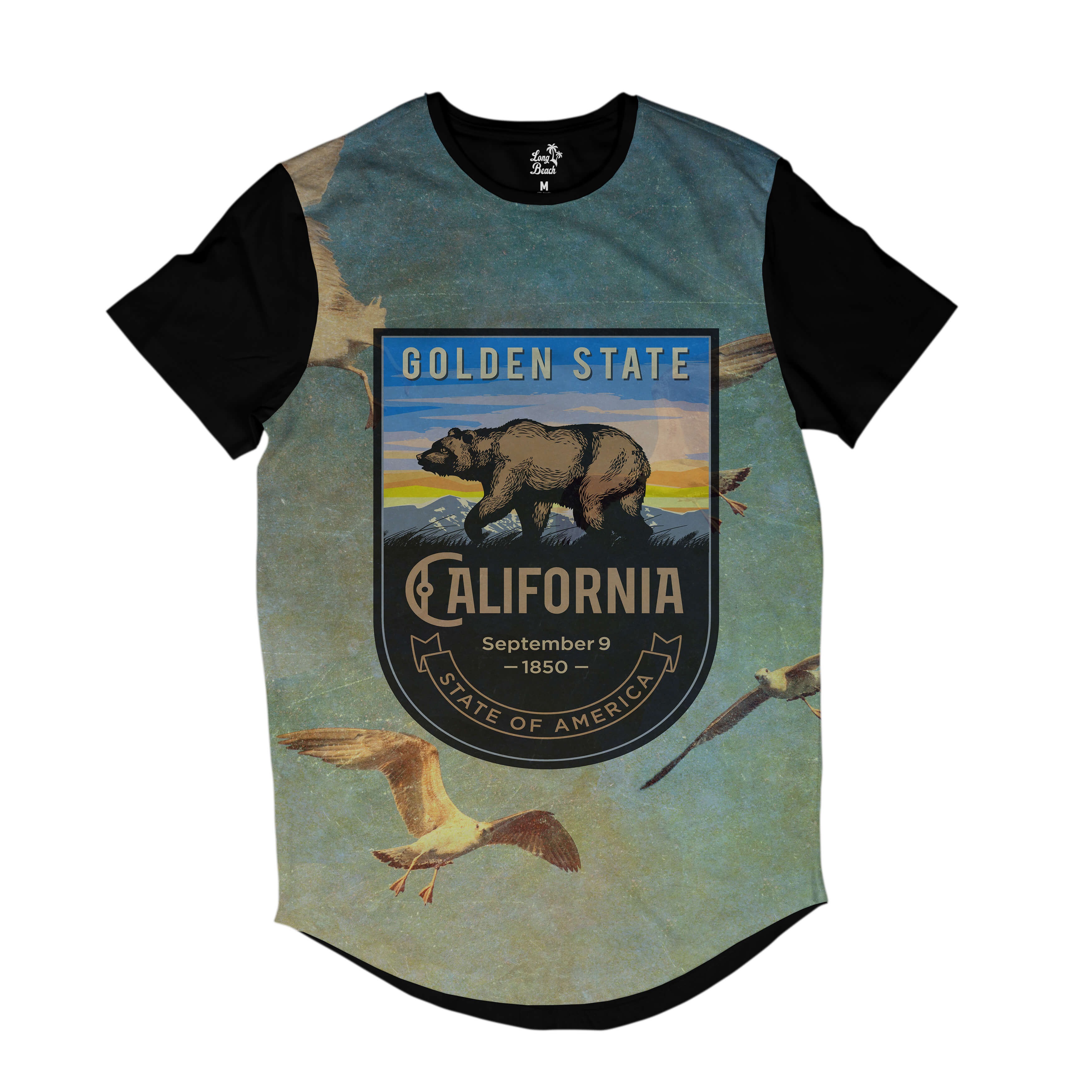 Camiseta Longline Long Beach California Gaivotas Full Print Azul