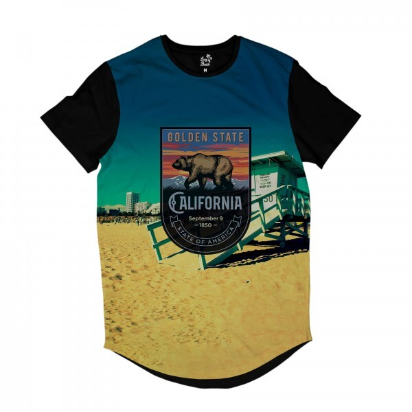 Camiseta Longline BSC California Venice Sublimada Colors