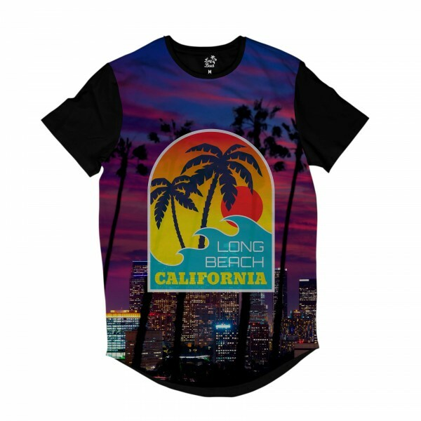Camiseta Longline Long Beach California Purple Full Print Roxo Fosco