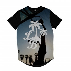Camiseta Longline Long Beach LB Dunk Full Print Cinza