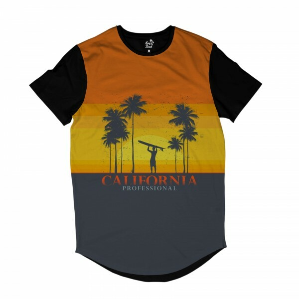 Camiseta Longline Long Beach California Surfista Full Print Amarelo